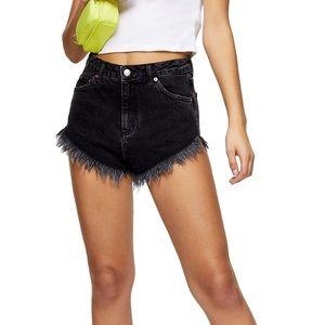 Topshop Moto Kiri Frayed Denim Shorts